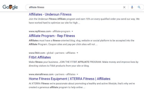 google search affiliate fitness