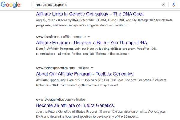 google search affiliate dna