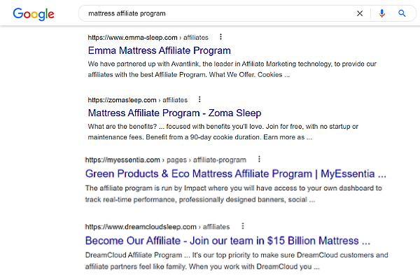 google search for how to join affiliate programs