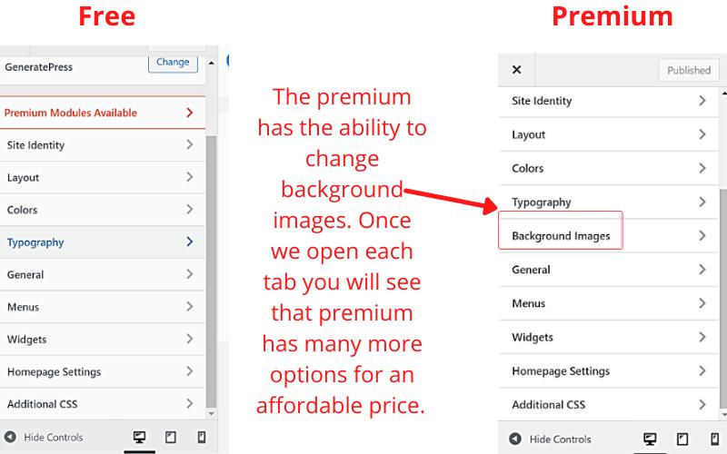 GeneratePress Free vs GeneratePress Premium elements